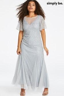 Simply Be Joanna Hope Sheer Yoke Beaded Maxi Dress