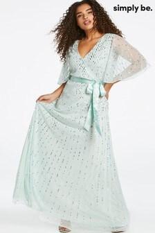 Simply Be Joanna Hope Satin Tie Wrap Maxi Dress