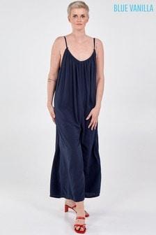 Blue Vanilla Wide Leg Strappy Jumpsuit