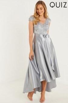 Quiz Satin Dip Hem Dress