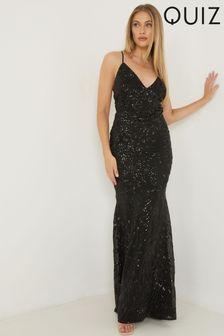 Quiz Sequin Strappy Maxi Dress
