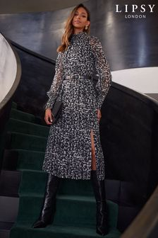 Lipsy Printed Shirred Cuff Midi Dress