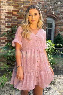 In The Style Dani Dyer Polka Dot Button Down Mini Dress