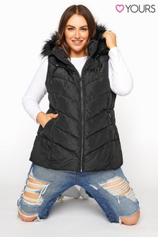Yours Faux Fur Trim Hooded Gilet