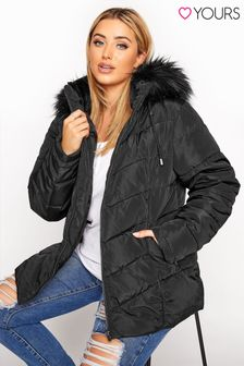 Yours Pu Panelled Puffer Jacket