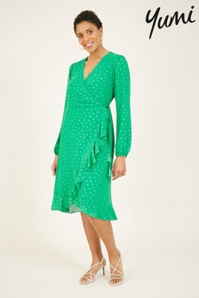 Yumi Spotted 'Greta' Wrap Dress