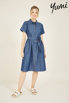 Yumi Spotted Denim 'Emily' Shirt Dress