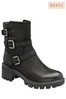 Ravel Leather  Zip-Up  Biker Boots