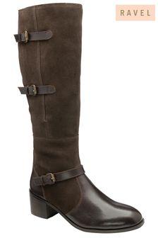 Ravel Dark Brown Suede Knee-High Boots