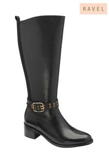Ravel Black Leather Knee-High Boots