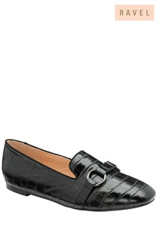 Ravel Black Croc-Print Slip-On Shoes