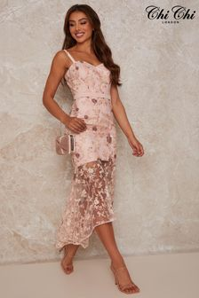 Chi Chi London Peplum Embroidered Lace Bodycon Dress in Mink