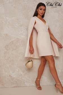 Chi Chi London Blazer Dress With Cape Detail In Cream