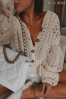 In The Style Lorna Luxe `Belle` Crochet Balloon Sleeve Oversized Cardigan