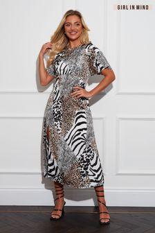 Girl In Mind Mixed Animal Midi Dress