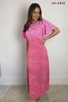 Girl In Mind Zoe Angel Sleeve Split Leg Midi Dress
