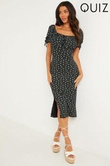 Quiz Ditsy Print Midi Dress
