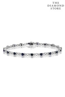 The Diamond Store Sapphire and Lab Diamond Tennis Bracelet Claw Set in 925 Silver