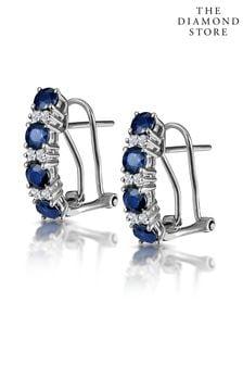 The Diamond Store Sapphire Earrings Half Hoop With Lab Diamonds Set in 925 Silver