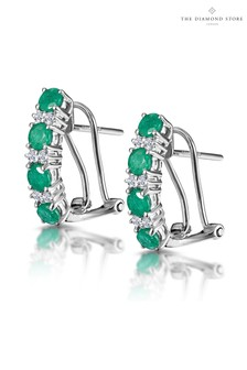 The Diamond Store Emerald Earrings Half Hoop With Lab Diamonds Set in 925 Silver