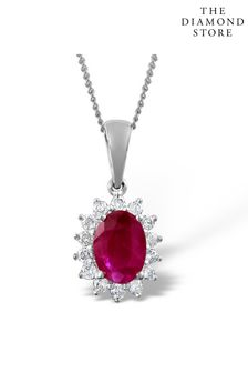 The Diamond Store Ruby Pendant Necklace With Lab Diamonds in 925 Silver - 7 x 5mm Centre