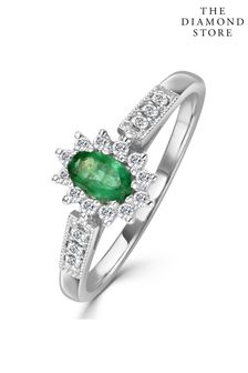 The Diamond Store Emerald Ring with Lab Diamonds in 925 Silver - 5 x 3mm Centre