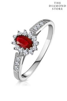 The Diamond Store Ruby Ring with Lab Diamonds in 925 Silver - 5 x 3mm Centre