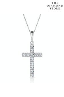 The Diamond Store Lab Diamond Cross Necklace Pendant 0.22ct set in 925 Silver