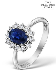 The Diamond Store Sapphire Ring With Lab Diamond Halo 7 x 5mm Set in 925 Silver