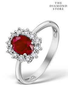 The Diamond Store Ruby Ring With Lab Diamond Halo 7 x 5mm Set in 925 Silver