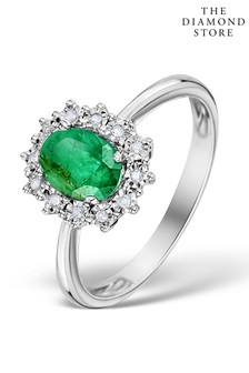 The Diamond Store Emerald Ring With Lab Diamond Halo 7 x 5mm Set in 925 Silver
