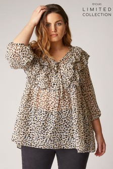 Yours Limited Frill Peplum Blouse With Animal Marking