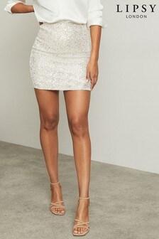 Lipsy Sequin Pull On Mini Skirt