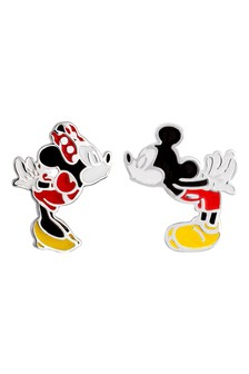 Peers Hardy Mickey and Minnie Mouse Mismatched Red, Black, yellow & white Sterling Silver Enamel Filled Stud Earrings