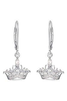 Peers Hardy Princess Crown Sterling Silver CZ Stone Set Earrings