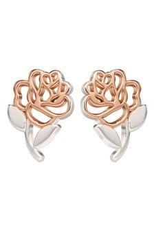 Peers Hardy Disney Princess Sterling Silver and Rose Gold Cut Through Rose Stud Earrings