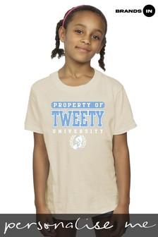 Looney Tunes Tweety Property of University Girls Natural T-Shirt