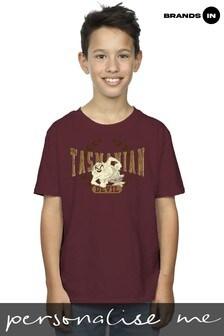 Looney Tunes Tasmanian Devil Varsity Boys Burgundy T-Shirt