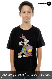Looney Tunes Bugs And Tweety Hip Hop Boys Black T-Shirt
