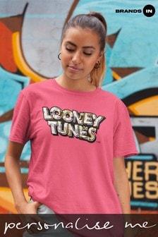Looney Tunes Logo Attitude Women Heliconia Pink Boyfriend Fit T-Shirt