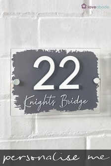 Personalised 3D Acrylic Mirror Number House Sign by Loveabode