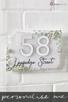 Personalised Leaf Print 3D Mirror Acrylic Number House Sign by Loveabode