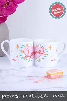 Personalised Matching Bone China Couples Love Mugs by Oakdene Designs