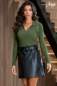 Pour Moi Elise Faux Leather Belted Mini Skirt