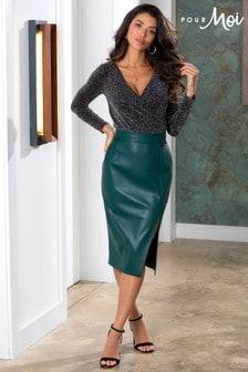 Pour Moi Elise Faux Leather Midi Pencil Skirt