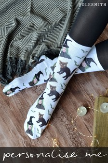 Personalised Scaredy Cat and Owner Women's Photo Socks by Solesmith