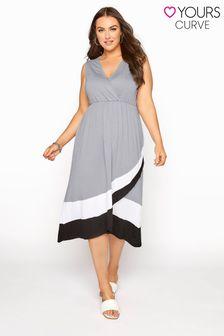 Yours Colour Block Hem Wrap Front Dress