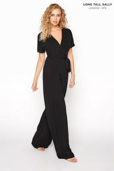 Long Tall Sally Ribbed Wrap Front Jumpsuit