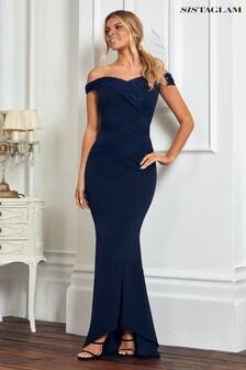 Sistaglam Lace Panel Bardot Maxi Dress