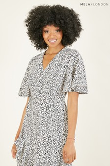 Mela Animal Print Wrap Over 'Honey' Midi Dress